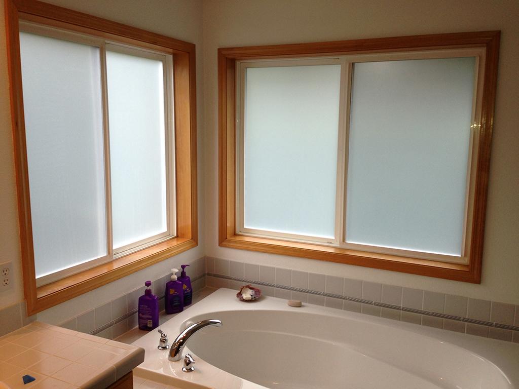Tinted windows above bath tub