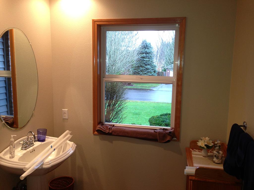Bathroom window with no tinting