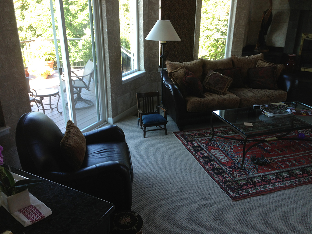 Interior picture of living room with lots of windows