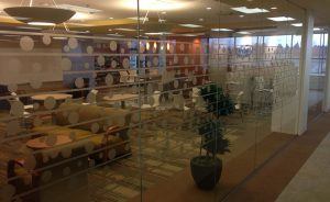 Window film achieves an etched glass effect in a commercial space