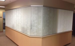 Etched effects window film makes an office window opaque.